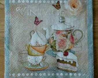 2 x Paper napkin for decoupage,  collage,  paper crafts, scrapbooking, tea party napkins, Vintage kitchen napkin