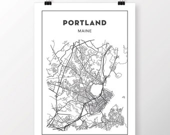 FREE SHIPPING to the U.S!! PORTLAND, Maine Map Print
