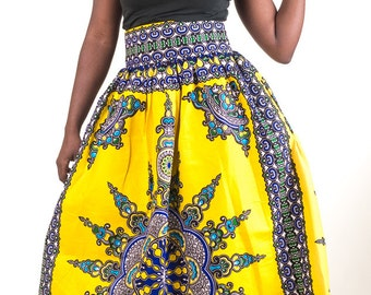 Bold Print Maxi skirt with pockets (Yellow)