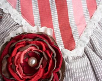 m2m Valentine Red Rosie: Handmade Flower Hair Clip (or headband) with vintage pearl bead, m2m Well Dressed Wolf's Red Rosie dress