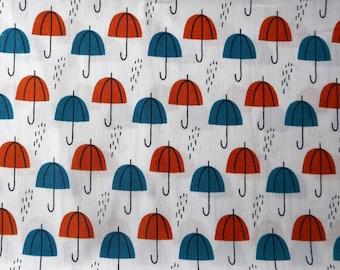 Fabric - Cloud 9 - Spring walk, umbrella rain orange, cotton print.