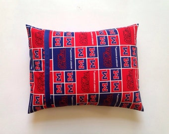 University of Mississippi/Ole Miss Pillow with royal blue grosgrain ribbon and red ric rac