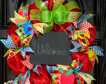 Teacher Deco Mesh Wreath-Classroom Wreath-Back To School Wreath-Apple Inspired Wreath-Teacher Appreciation Gift