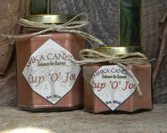 Small CUP'O'JOE coffee soy Candles! 4oz jar candles, Strong Coffee Candle! True coffee candle, Coffee lover candle, cafe, Ashka Candles