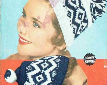 Weldons 1585 fairisle caps beanie hats ladies mens vintage knitting pattern PDF instant download