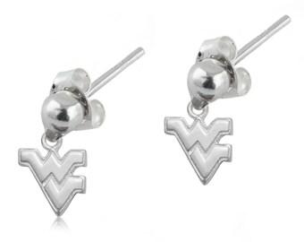 West Virginia Sterling Silver Post Dangle Earrings, Mountaineers Silver Jewelry, WVU-6169