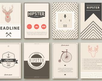 Set hipster layout brochures template vector EPS editable, pgf, png, jpg 300dpi  INSTANT DOWNLOAD