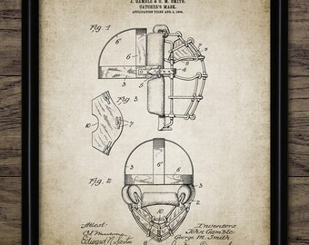 Baseball Catchers Mask Patent Print - Baseball Equipment - 1907 Baseball Design - Single Print #1467 - INSTANT DOWNLOAD