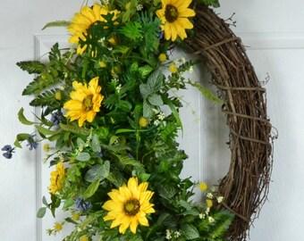 Sunflower Door Wreaths - Summer Front Door Wreath - Summer Floral Wreath - Outdoor Wreath - Summer Decor Ideas