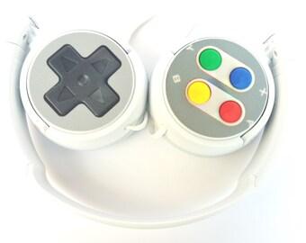 HEADPHONES SUPER NINTENDO geek mario bros,console 8-bit ps4 xbox donkey kong nes videogame