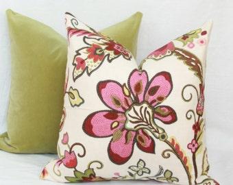 Pink crewel floral throw pillow cover 18x18 20x20 22x22 24x24 26x26 Euro sham pink Lumbar pillow Pink floral 12x20 12x24 14x26 16x24 16x26