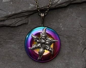 Hematite pendant,Aura pendant,Bohemian Pendant,Ooak jewel,Soldered necklace,Aura hematite,Healing necklace,Chain necklace,Fantasy World