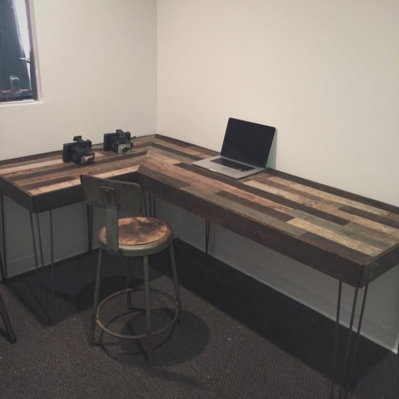 Rustic L-Shaped Desk Made from Reclaimed Wood
