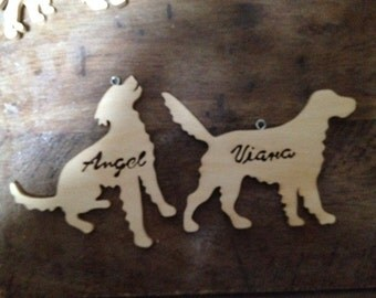 Wooden ornaments, with name cut in