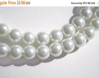 50% Sale White Glass Pearl Beads - 10mm - 43ct