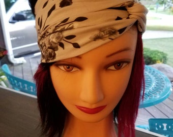 Gray and Black with Roses Stretchy Headwrap Turban