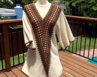 1970s Boho Tunic Sweater OSFM