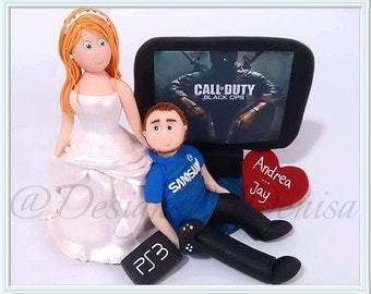 Personalised Football / Fifa / Gaming Bride And Groom Wedding Cake Topper