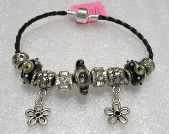 179 - CLEARANCE - Black and Silver Bracelet