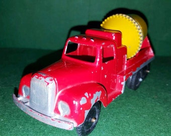Metal Cement Mixer Truck by TOOTSIE, Red & Yellow Construction Vehicle, Tootsie Toy Car, 1950's VINTAGE Toy Truck