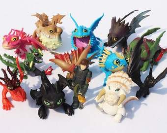 """How to Train Your Dragon Set Of 13 2"""" - 3"""" Birthday Cake Topper Figurines Set"""