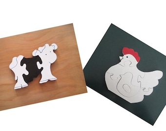 Cow and Chicken Puzzle Set