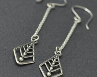 Sterling Silver Kite Earrings, Chain Earrings, Dangle Earrings