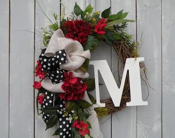 Initial Wreath, Front Door Wreath, Designer Wreath, Home Decor, Spring Wreath, Summer Wreath