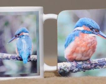 Kingfisher mug with coaster