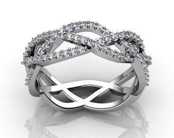 DIAMOND Twist BAND 18k White Gold .25ct Genuine Diamond Wedding Band Engagement Ring Wedding Band Anniversary Unique Band Ring