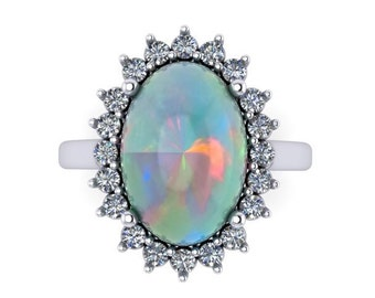 Natural White Opal Ring 14k White Gold & .40ct Genuine Diamonds 11x8mm Oval Opal Birthstone Anniversary Halo Diamond Pristine Custom Rings