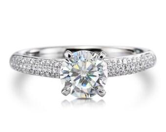 14kt White Gold Diamond & Moissanite Engagement Ring .52ct EFVS2 Natural Diamonds Center Forever One Moissanite 1.0ct Wedding Ring