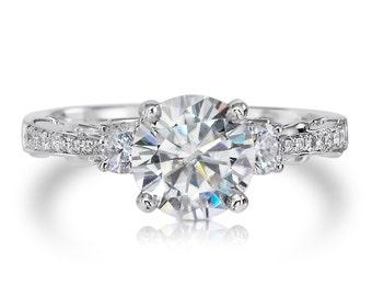 RESERVED For Kyle Moissanite Engagement Ring .35ct Natural Diamonds 1.50ct Round Supernova Moissanite Wedding Ring  Pristine Custom Rings