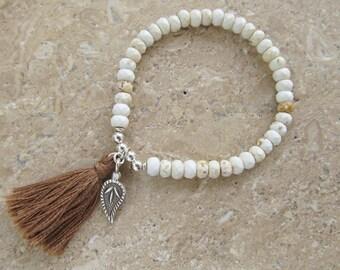 White Turquoise Sterling Silver 'Dewdrop' Charm Stretch Tassel Bracelet