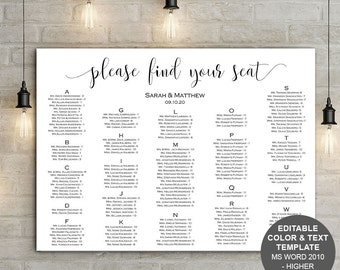 Printable, Seating Chart Template, Wedding Seating Chart, Poster, Seating  Plan, Instant