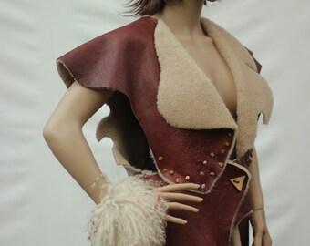 Fur vest and bracelet womens clothing handmade vintage clothes Fur vest ladies jumper boho style vest urban vest Tunic vintage 2016s fashion