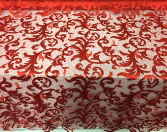 Red flaming leaf design-embroider on a mesh lace fabric-wedding-bridal-nightgown-prom-sold by the yard-