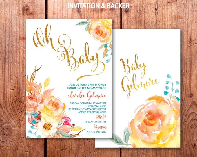 Fall Baby Shower Invitation // Oh Baby Invitation // Floral // Blue // Orange // Gold // Yellow // Watercolor // CAPE BRETON COLLECTION