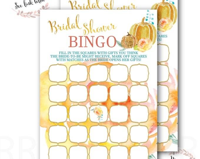 Bridal Shower Bingo // Bingo Game // Pumpkin // Bridal Shower Games // Fall //Autumn // Gold // Instant Download // CAPE BRETON COLLECTION