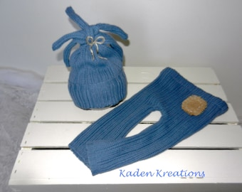 Upcycled Photography Prop, Newborn Photgraphy Prop, Blue Pants and Hat Photography set, Baby Boy Posing Prop, Newborn Posing Prop