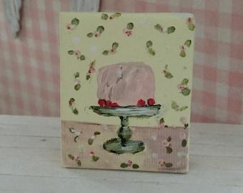 Miniature Hand painted Shabby Cake Print