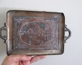 Vintage French Engraved  Metal Drinks Tray Apres Le Dessert Adolfo Dumini