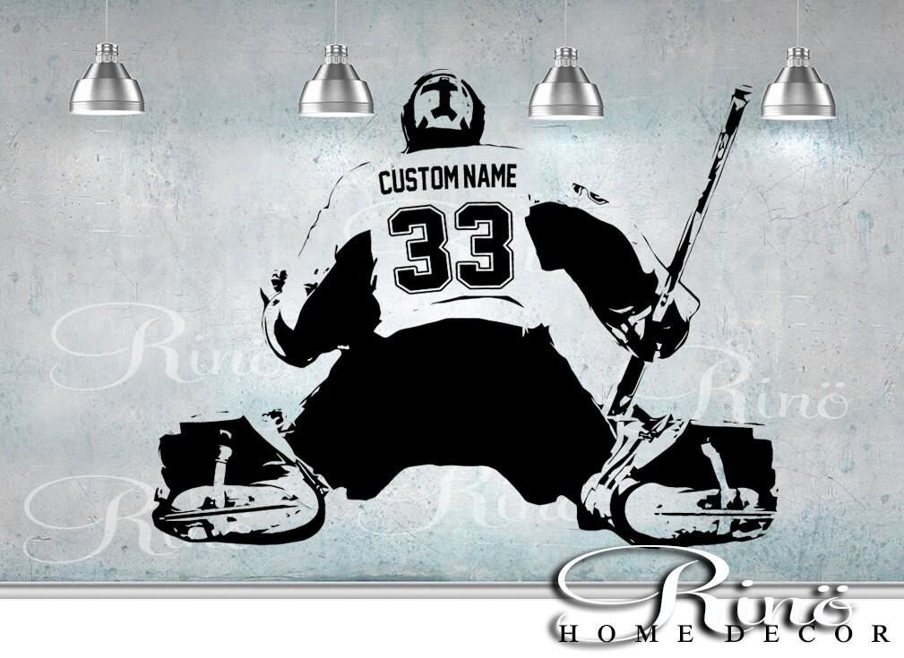 Hockey Goalie Decal Wall Art Custom Large Player Choose Jersey - Custom large vinyl stickers