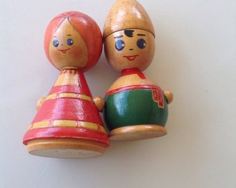 Vintage  Russian Wooden dolls