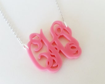 """Small 1.5"""" Kids Pink Acrylic Monogram Necklace"""