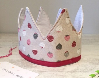 Strawberry Fabric crown for party, dress-up, birthday or gift