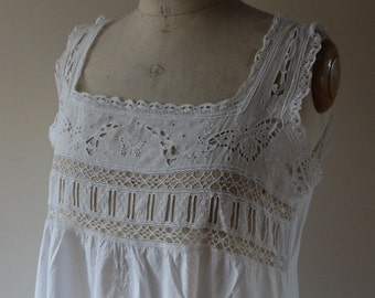 French ladies antique butterfly nightgown, pure cotton embroidered nightie, chemise,  night dress