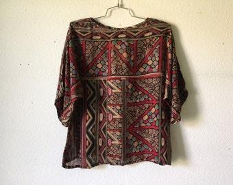 Vintage Blouse - Pullover Short Sleeve Geometric Print Top