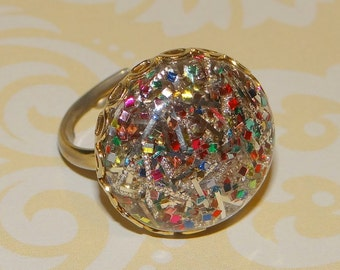 Vintage Sarah Coventry Gold Tone Confetti Ring Adjustable Size