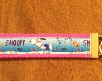 Snoopy Key Chain Key Fob Wristlet